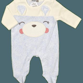 Комбинезон велюровый для мальчика Bonne Baby, серый, арт. 383136