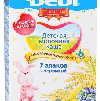 Каша 7 злаков Kolinska Bebi PREMIUM, молочная, с черникой 200 г
