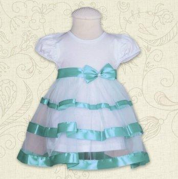 Платье Маленькая Леди, короткий рукав, кулир Бетис, бирюзовый