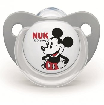 Пустышка силикон Trendline Disney Mickey NUK 3954013 0+ черный с белым