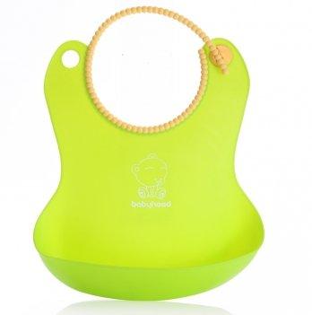 Силиконовый фартук для кормления Babyhood, зеленый