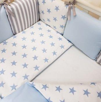 Комплект Бэби дизайн премиум №53 Старс, Маленькая Соня, 7 предметов, голубой