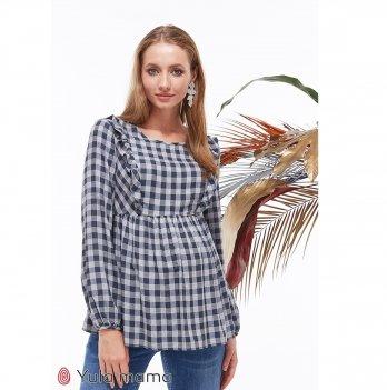 Блузка для беременных и кормящих MySecret Marcela BL-39.011 синий/серый