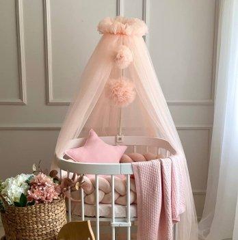 Балдахин на кроватку Маленькая Соня с помпонамиПудровый 05115722