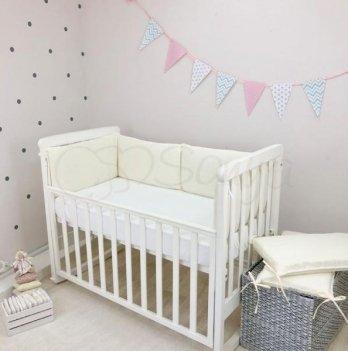 Набор защиты для кроватки Nice Маленькая Соня 076135 молочный