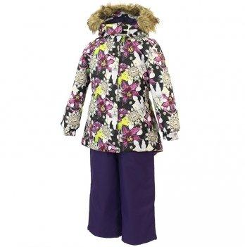 Зимний термокомплект для девочки Huppa RENELY, лилии на черном