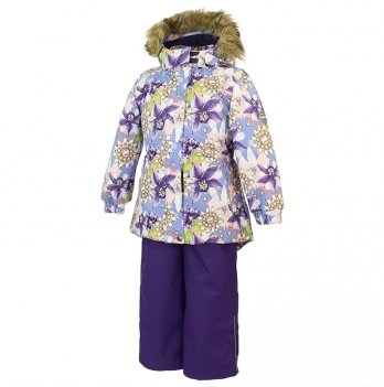Зимний термокомплект для девочки Huppa RENELY, орхидеи на голубом