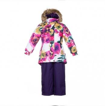 Зимний термокомплект для девочки Huppa RENELY, белый с цветами