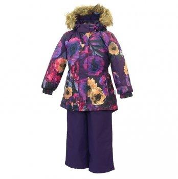 Зимний термокомплект для девочки Huppa RENELY, фиолетовый с маками
