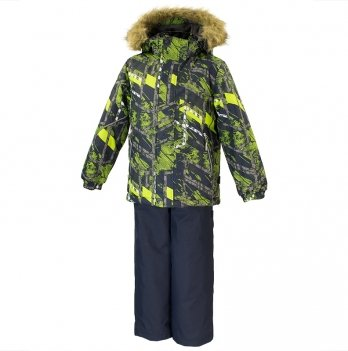 Зимний термокомплект для мальчика Huppa DANTE 1, черный с салатовым