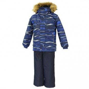 Зимний термокомплект для мальчика Huppa DANTE 1, синий с белыми полосками