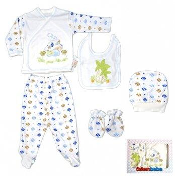 Комплект для новорожденного Özlem Bebe, в коробке, 5 предметов, голубой