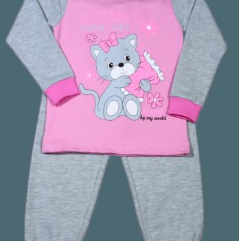 Пижама теплая Мій Світ 42303-15 розово-серая Котик
