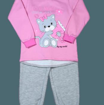 Пижама теплая Мій Світ 42303-16 розово-серая Котик