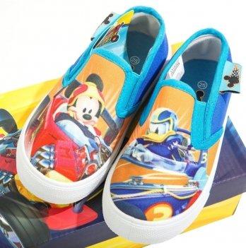Слипоны для мальчика Disney Микки и веселые гонки, голубые