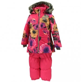 Зимний термокомплект для девочки Huppa NOVALLA, розовый с маками