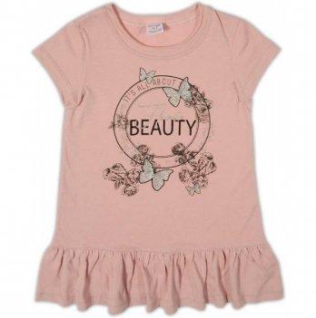 Платье трикотажное Garden baby для девочки, пудровое, 45070-03
