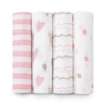 Пеленки бамбуковые Aden&Anais Heart, бело-розовый 3 шт.