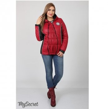 Куртка демисезонная для беременных MySecret Lemma OW-17.011 ягодный/черный