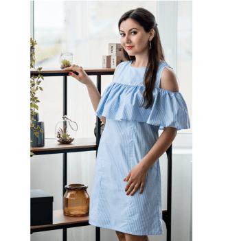 Платье для кормящих мам Athens Lullababe с воланом голубая полоска