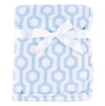 Одеяло детское Hudson Baby, белое с голубым узором