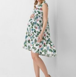 Платье для беременных Dianora в листочки с оборкой 1950 1098