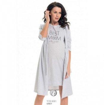 Ночная рубашка для беременных и кормящих мам Dobranocka, 9081 grey