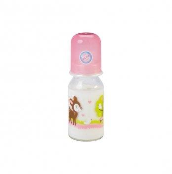 Бутылочка стеклянная Baby-Nova 3966356 розовый 125 мл