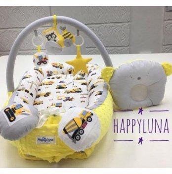 Кокон-гнездышко Happy Luna 0119 Babynest Plush Машинки