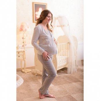 Пижама для беременных и кормящих мам MammaLux, белая с серым