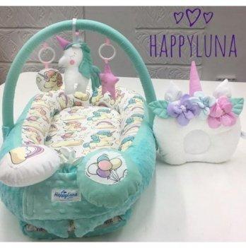 Кокон-гнездышко Happy Luna 0101 BabyNest Premium Единорог