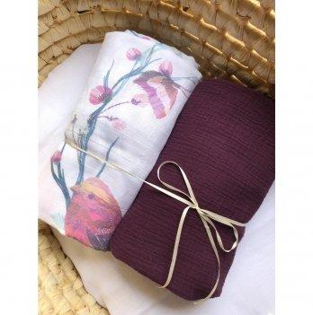 Муслиновая пеленка Embrace 2 шт, шоколад/молочный