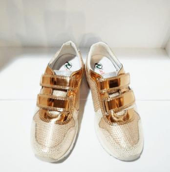 Кроссовки для девочки Naturino, кожа, золотые
