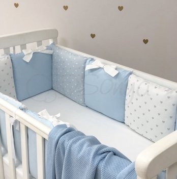 Бортики в кроватку Маленькая Соня Shine Голубой сердечко Голубой 0747213