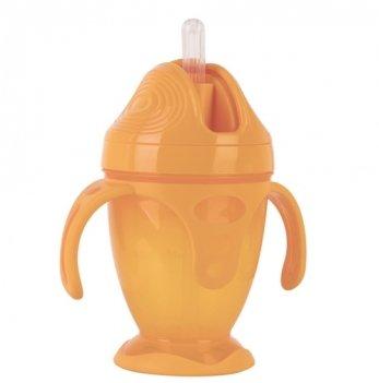 Поильник с силиконовой трубочкой и ручками Baby Team 5011 оранжевый