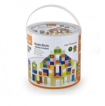 Набор кубиков Viga Toys Алфавит и числа 50288 100 шт