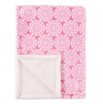 Одеяло детское Hudson Baby, белое с розовым узором