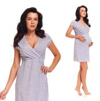 Ночная рубашка для беременных и кормящих мам Dobranocka, 9394 light grey