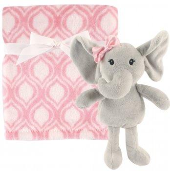 Плед с игрушкой Hudson Baby, розовый, с игрушкой Слоненок