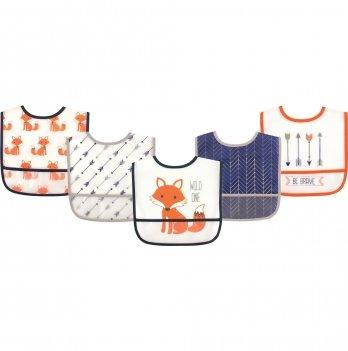 Комплект слюнявчиков Hudson Baby, 5 штук, Хитрый лис