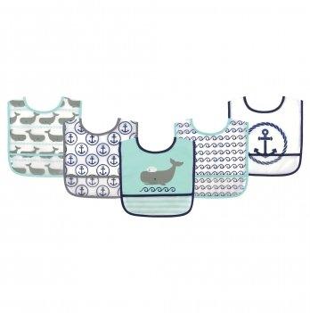 Комплект слюнявчиков Hudson Baby, 5 штук, Морской кит