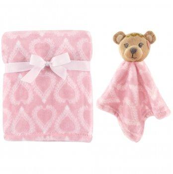 Плед с игрушкой Hudson Baby, розовый, с комфортером Медвежонок