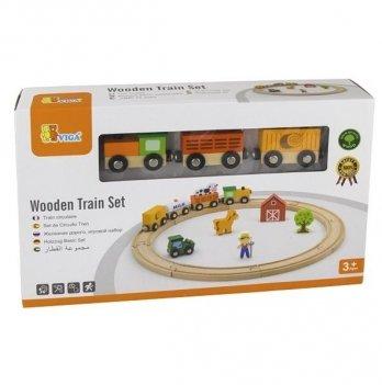 Игровой набор Viga Toys Железная дорога 51615 19 шт