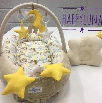 Кокон-гнездышко Happy Luna 0105 Babynest Plush Единорог 3