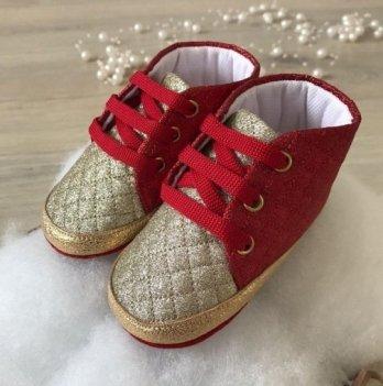 Пинетки на шнурках Бетис Модель-52 Красный/Золотой текстиль