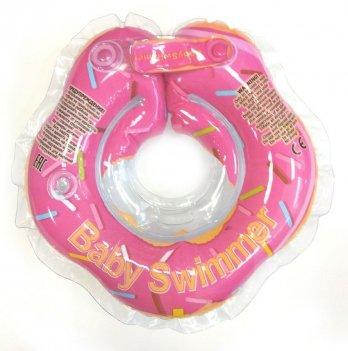 Круг на шею BabySwimmer Розовый пончик для детей от 0-24 месяцев и 3-12 кг