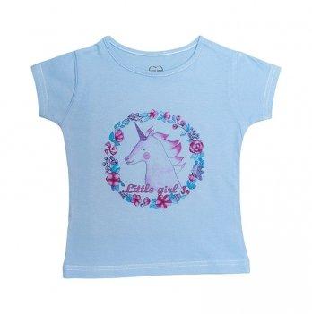 Футболка для девочки SWEET BABY Единорог, голубая