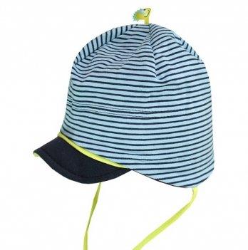 Легкая шапочка MaxiMo сине-голубая с зеленой отделкой