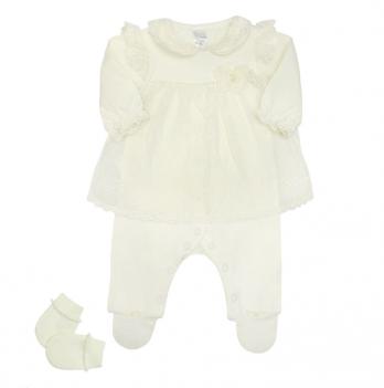 Комплект для девочки (комбинезон, туника и царапки), возраст от 0 до 3 месяцев, молочный, SMIL