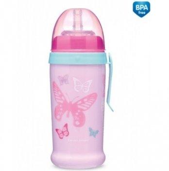 Поильник с силиконовой насадкой Canpol babies Butterfly, розовый
